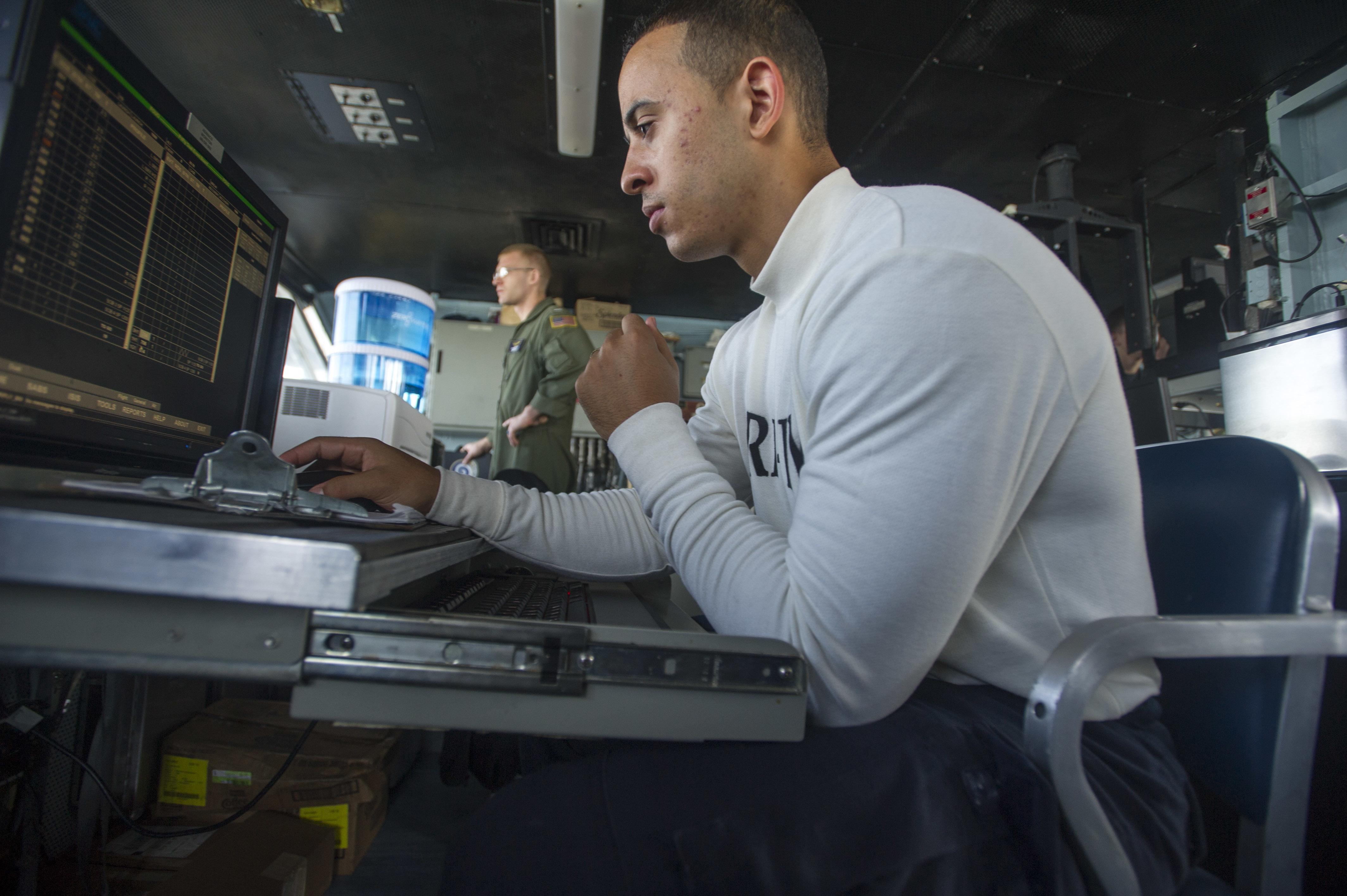 Seaman inputs flight information